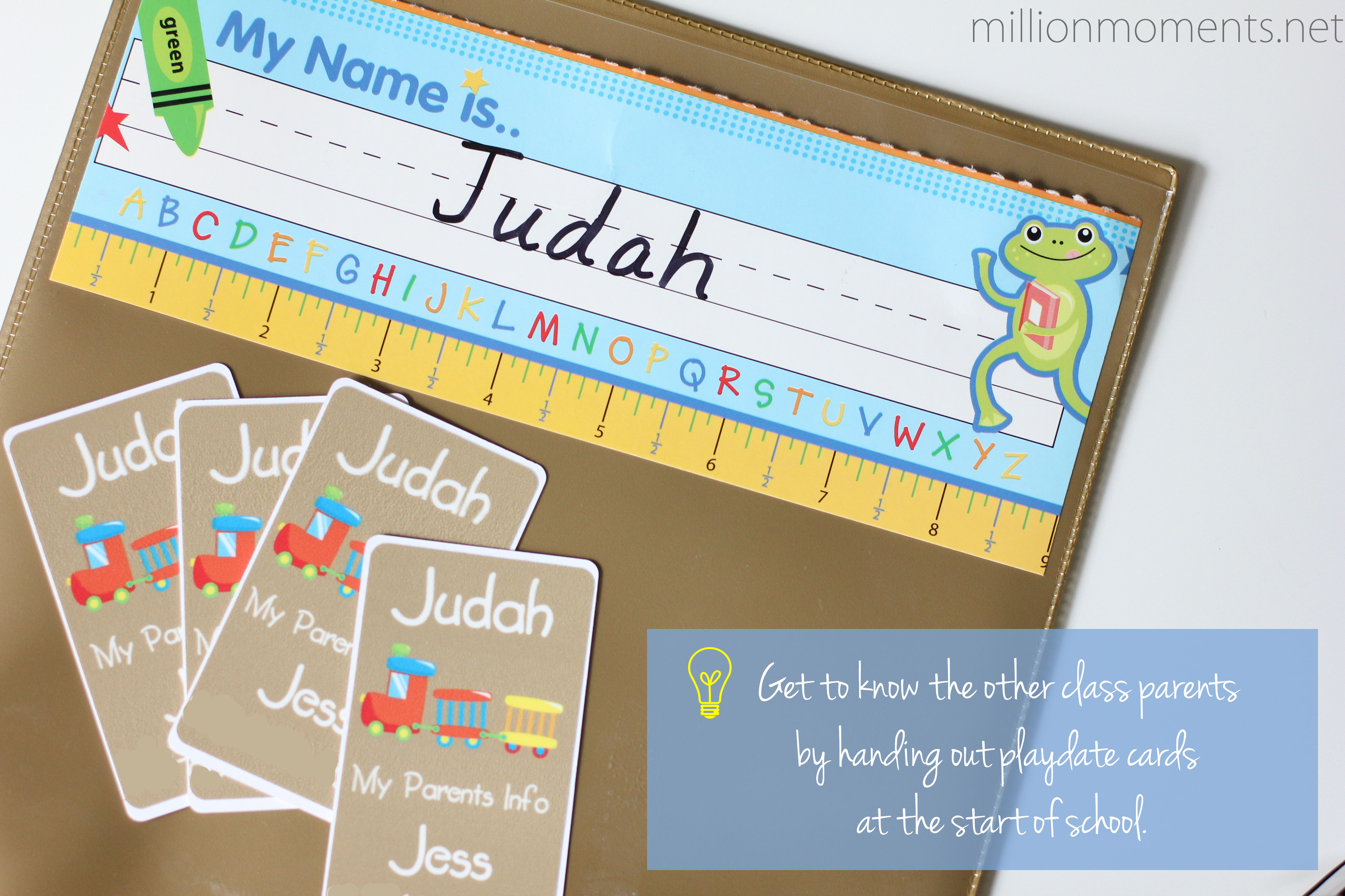 Playdate cards are a must for meeting classmates.