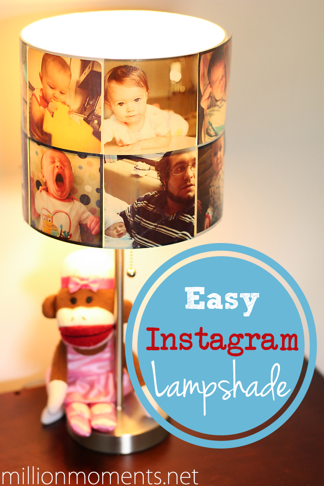 DIY lampshade with printed Instagram photos. #shop
