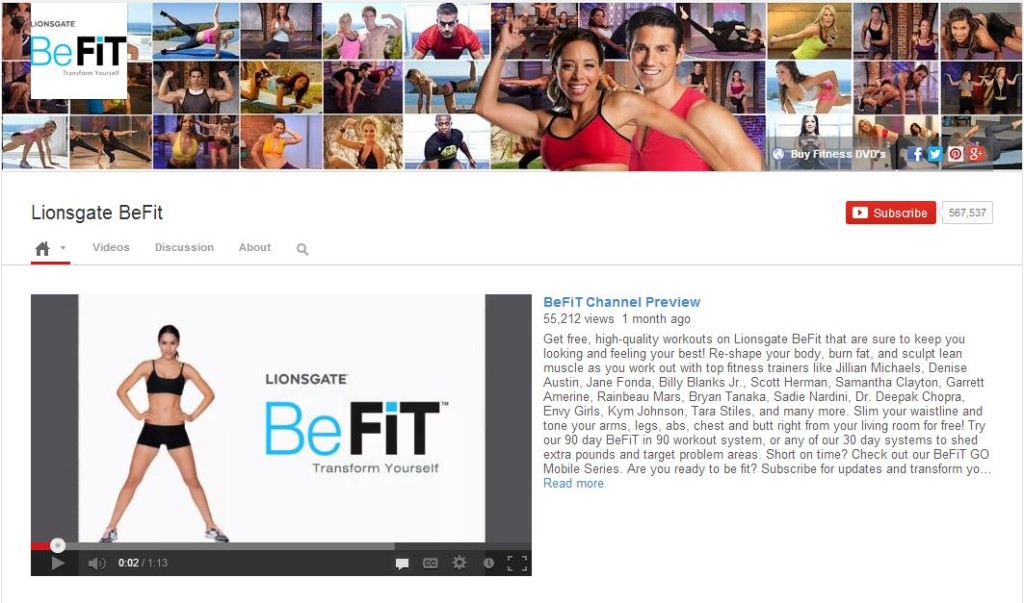 BeFit fitness videos on YouTube #shop