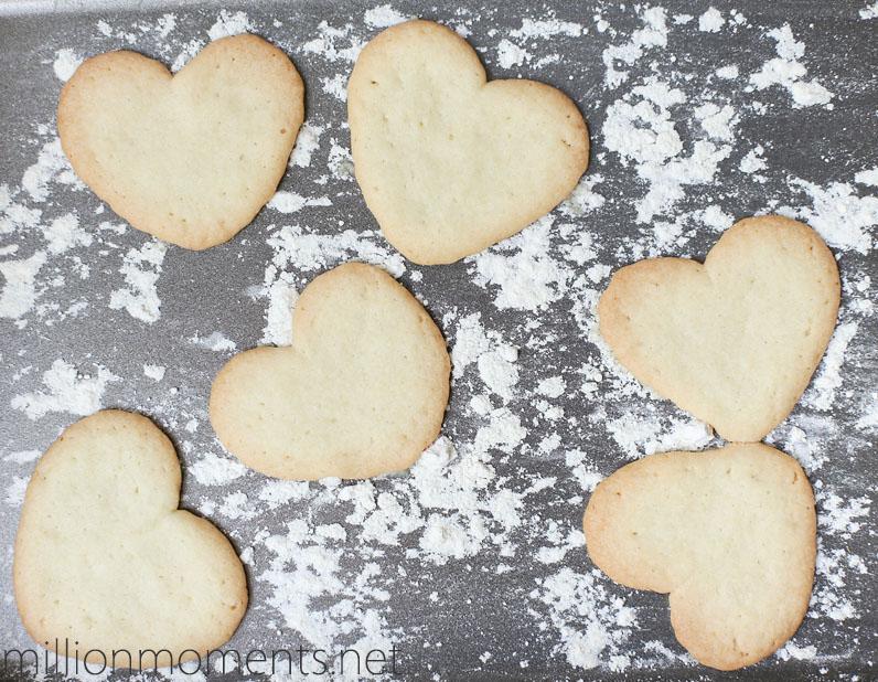 Heart shaped sugar cookies.
