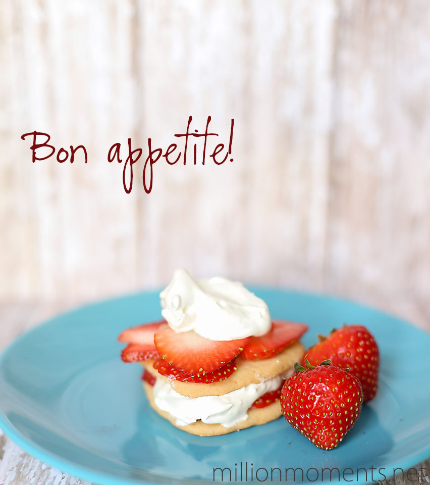 Strawberries, whipped cream and sugar cookies are a great party dessert.