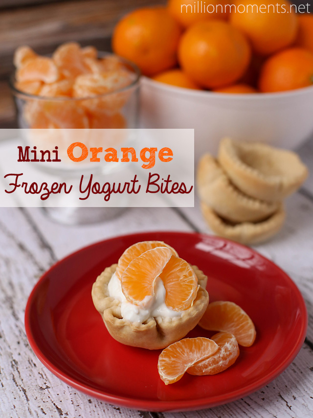 Mini orange frozen yogurt bites