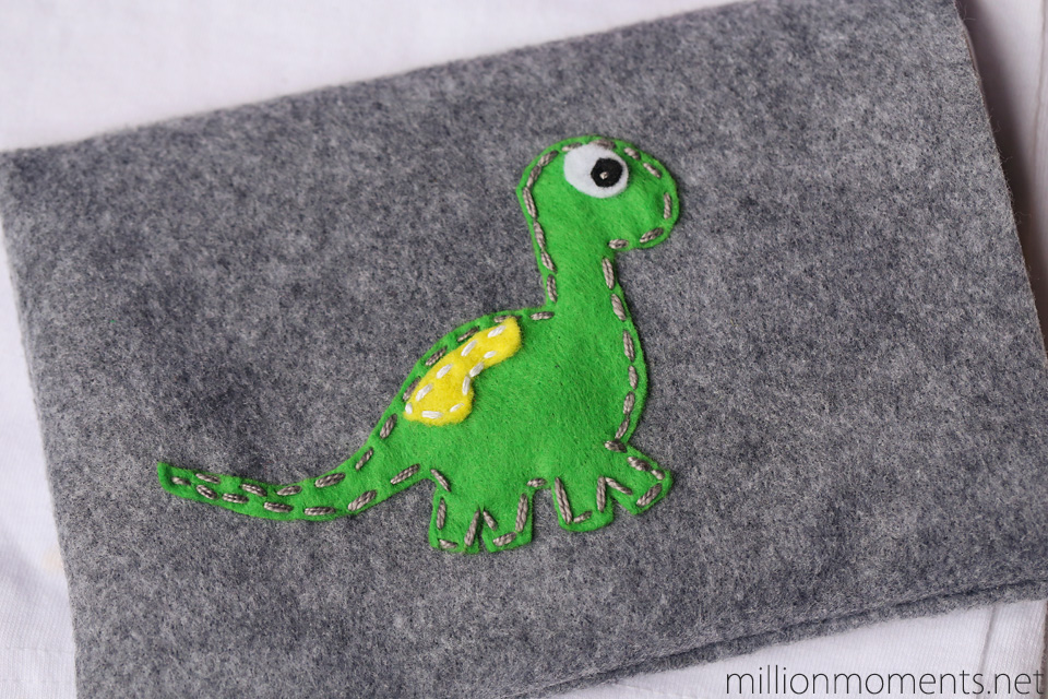 Felt dinosaur tablet sleeve