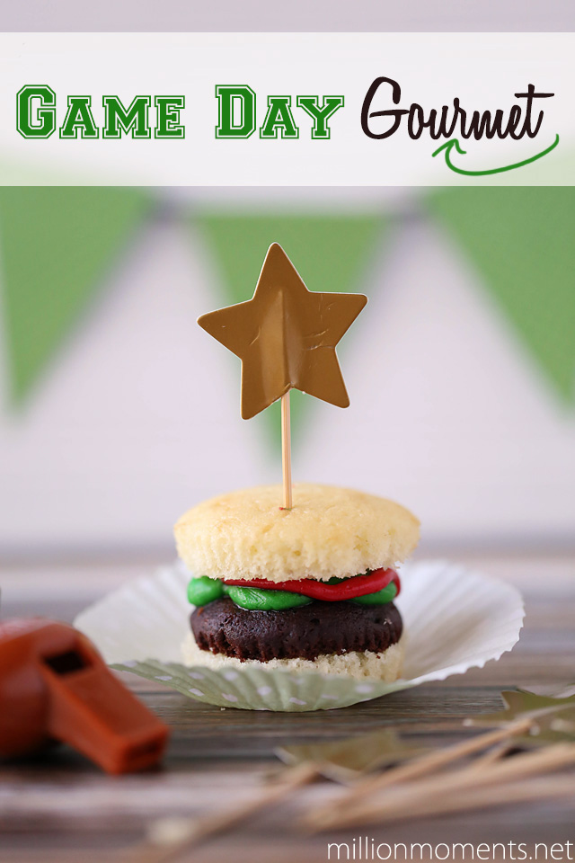 Adorable burger cupcakes for a great game day party #OneBuyForAll #shop