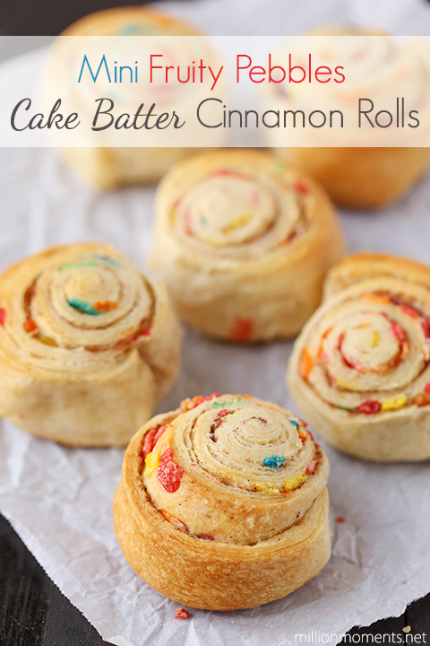 Mini cake batter cinnamon rolls