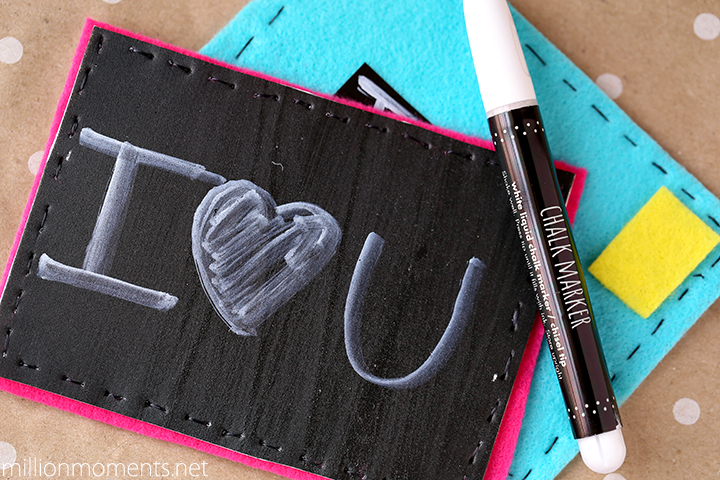 Felt chalkboard postcards for kids
