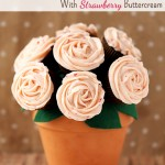 Homemade Cupcake Bouquet With Strawberry Buttercream Frosting {Recipe & Craft}