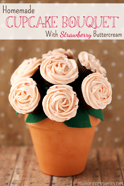 Edible cupcake bouquet with homemade strawberry buttercream frosting