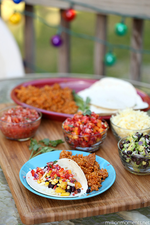 Family taco night with fresh fruit salsa #shop