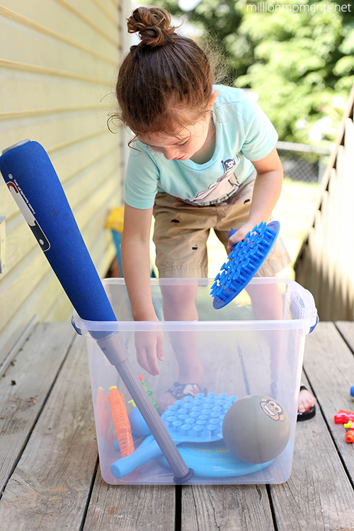 Create a fit bin for outdoor active play