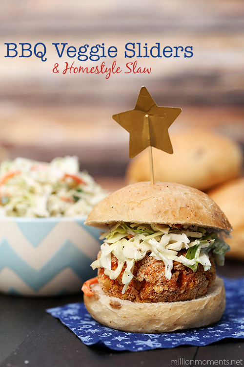 Homestyle bbq veggie burgers with slaw.