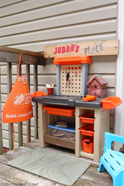 Space Saving Kids Workshop, Step2 Home Depot workbench, DIY play area