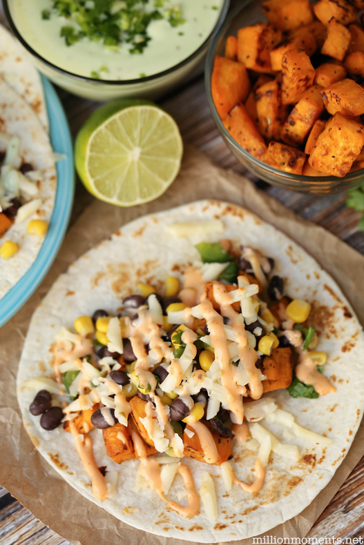 Easy zesty sweet potato taco recipe with homemade sauces