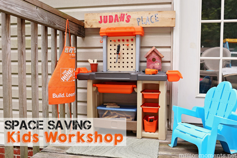 Space Saving Kids Workshop with Step2 Home Depot workbench