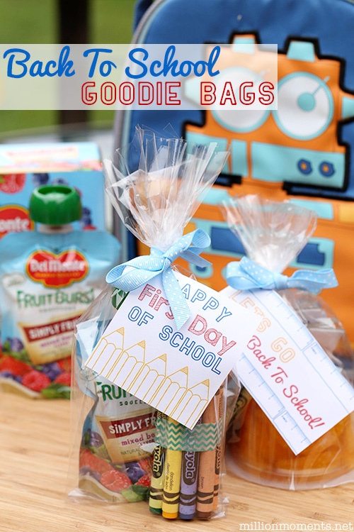 Easy DIYback to school treat bags with Del Monte fruit