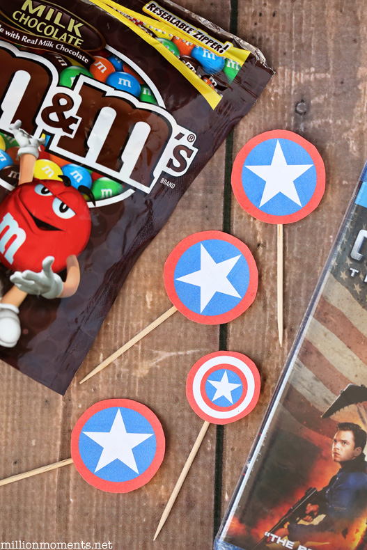 Captain America movie night with M&Ms