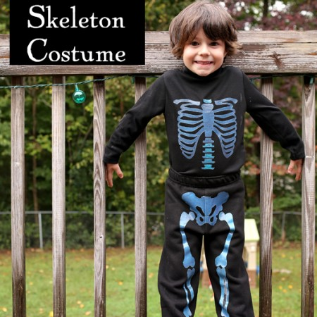 Easy glow in the dark skeleton suit tutorial for toddlers