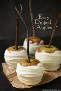 white chocolate and caramel apples