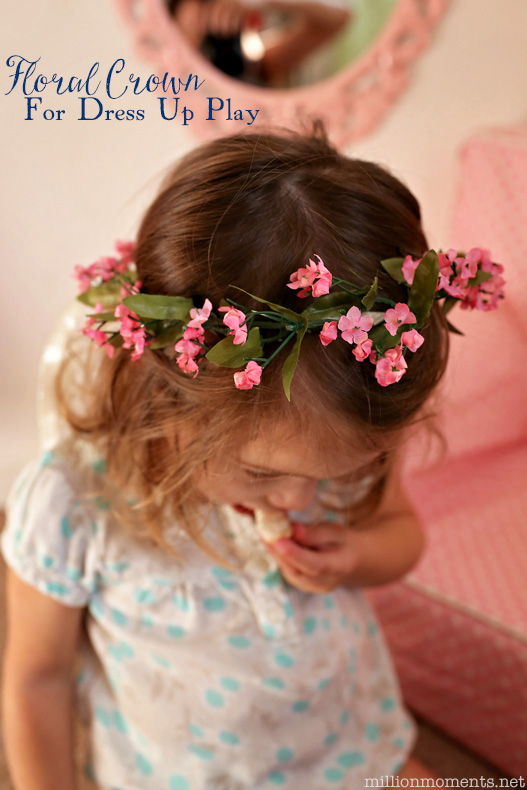 DIY floral crown tutorial for dress up play