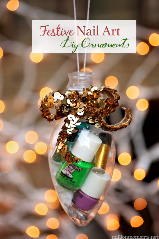 Piggy Paint diy nail art ornament gift. Great to hang on the tree or as a stocking stuffer!