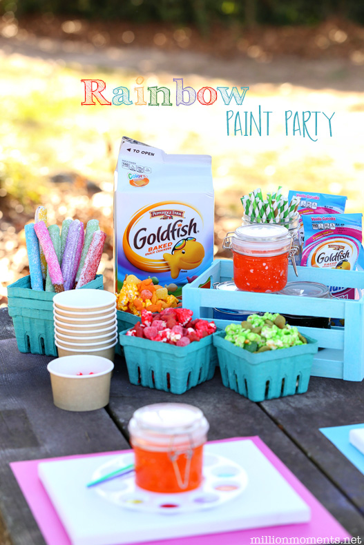 Create a gorgeous rainbow paint party with fun snacks and adorable crafts!