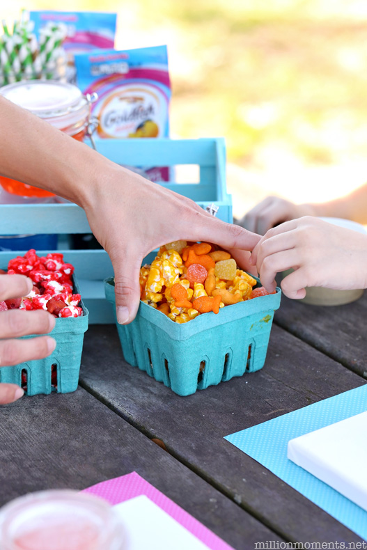 Rainbow party for kids with fun popcorn Goldfish snack mix