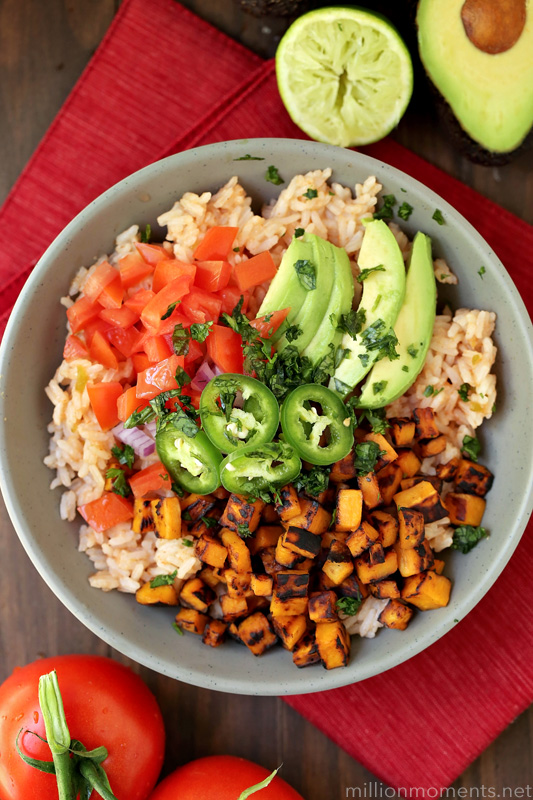 super simple Mexican rice bowl served with sweet potatoes and ...