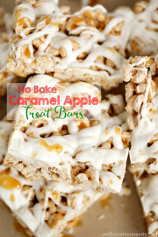 no bake caramel apple treat bars