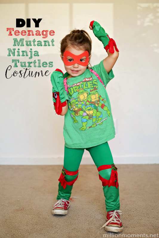 Easy DIY Teenage Mutant Ninja Turtles costume for girls.